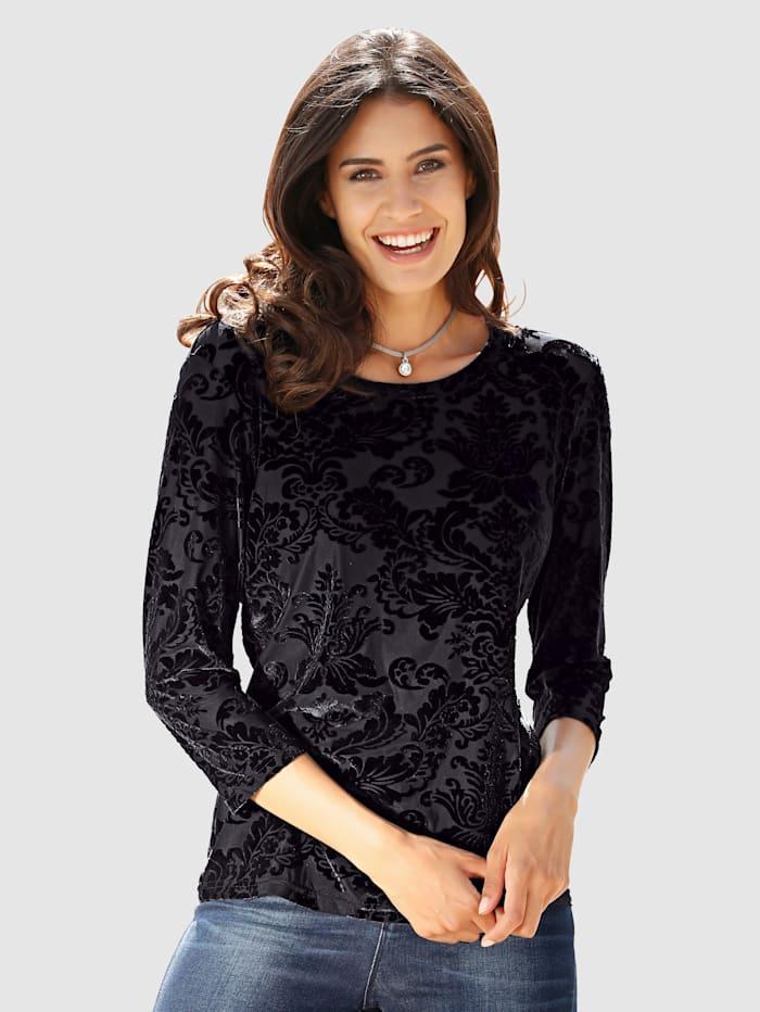 Dress In Top In a floral devoré look, Black