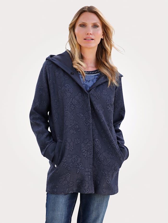MONA Longline jacket made from a jacquard fabric, Blue