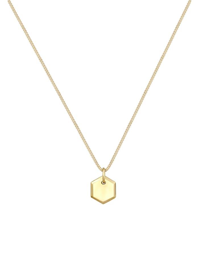Halskette Panzerkette Plättchen Hexagon Basic 925 Silber