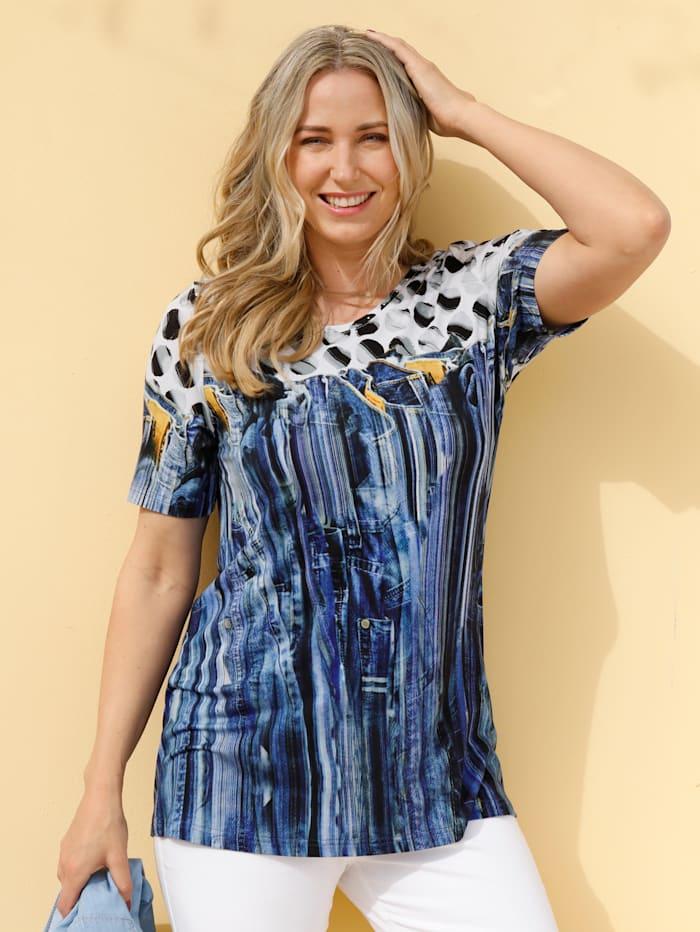 MIAMODA Shirt mit Jeansdruckmuster, Blau/Weiß