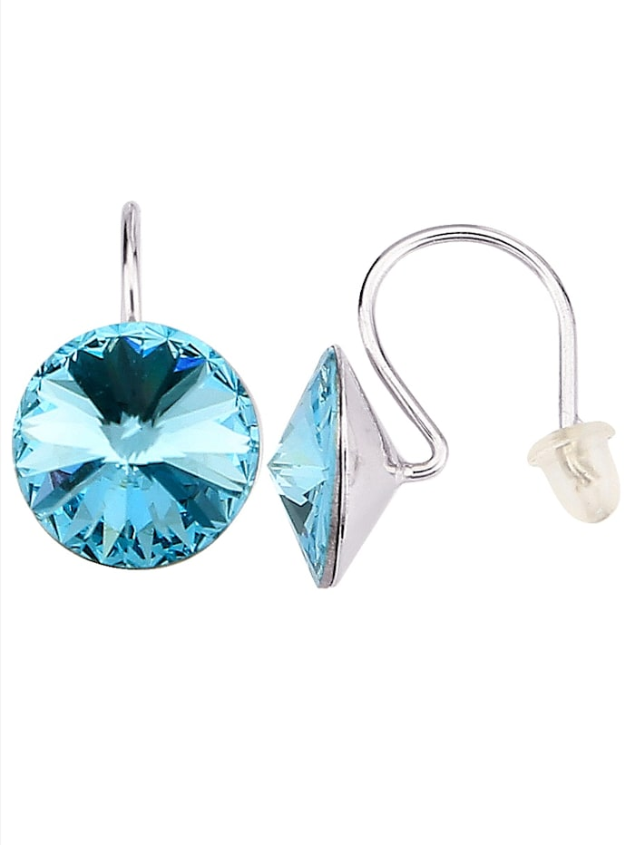 2tlg. Ohrschmuck-Set mit Kristallen, Blau/Weiß