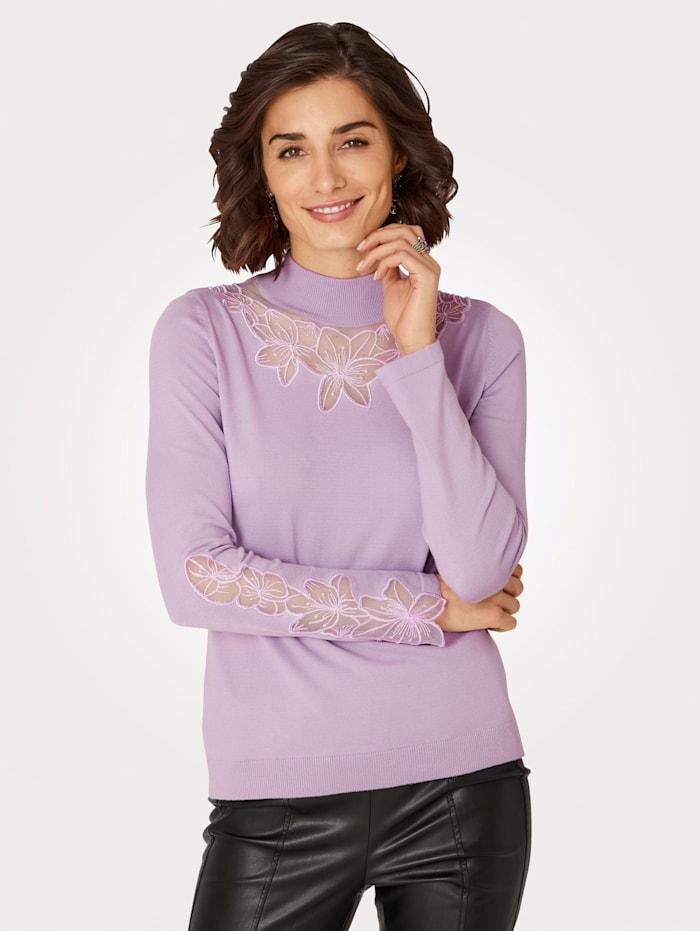 MONA Pullover mit attraktiven Einsätzen, Lavendel