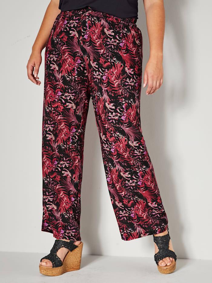 Sara Lindholm Pantalon à ceinture entièrement extensible, Noir/Rouge/Rose
