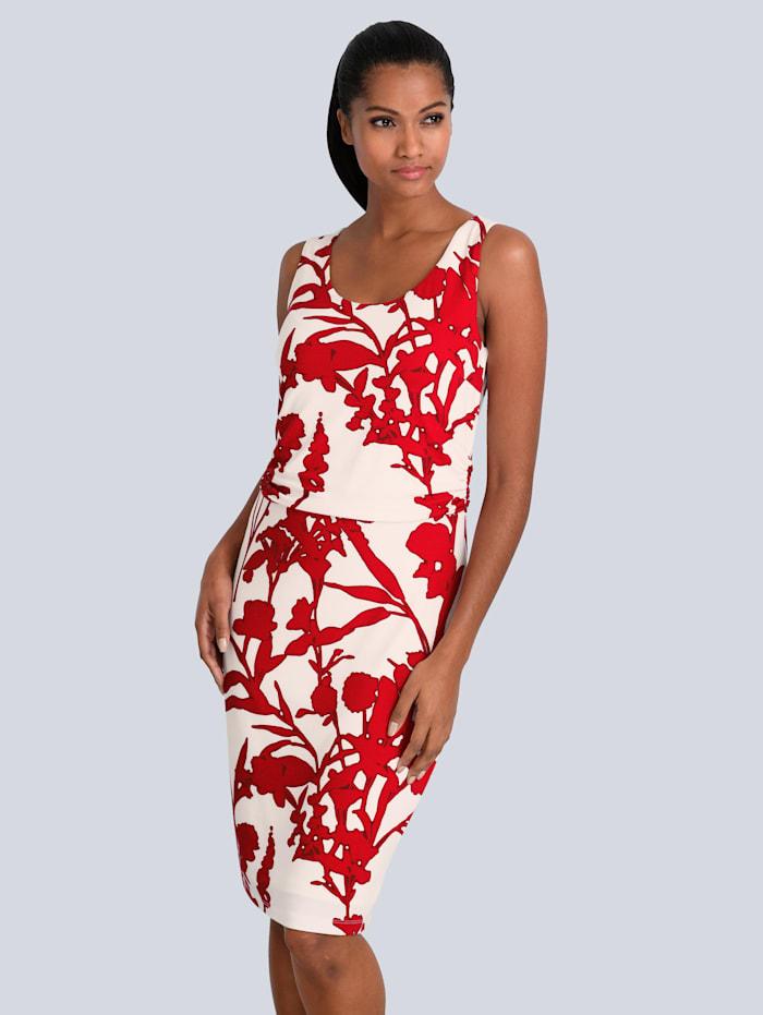 Alba Moda Kleid mit femininer Raffung in der Taille, Rot/Weiß