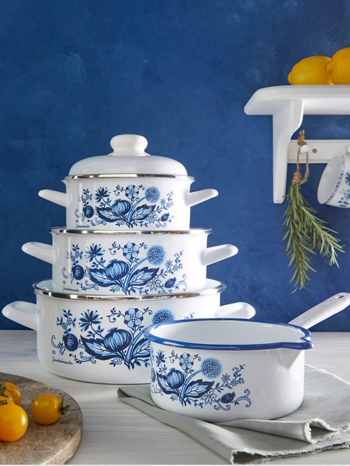 GSW Batterie de cuisine 7 pièces à motif 'Oignons', Blanc à motif 'Oignons' bleu