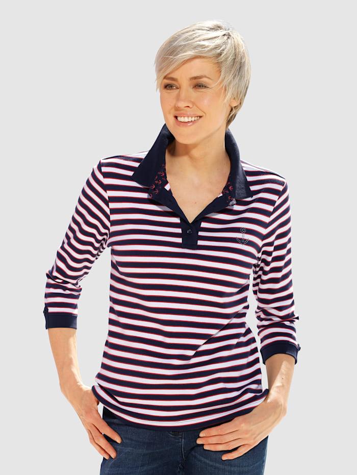 Dress In Poloshirt in Streifenoptik, Marineblau