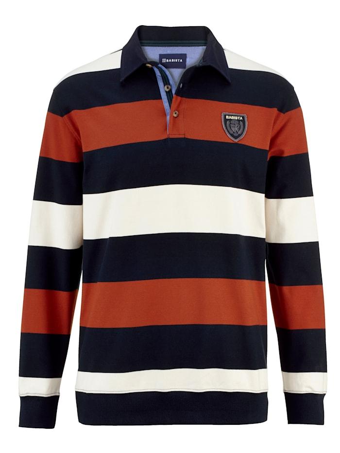 BABISTA Sweatshirt met ingebreide strepen, Marine/Terracotta