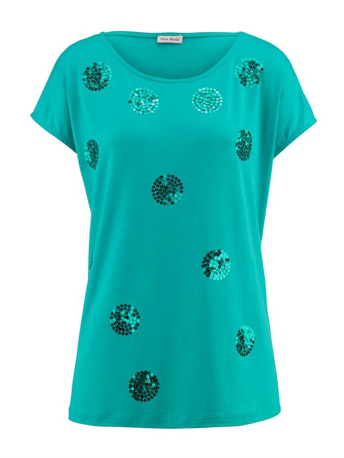 Alba Moda Shirt mit Pailletten, Grün