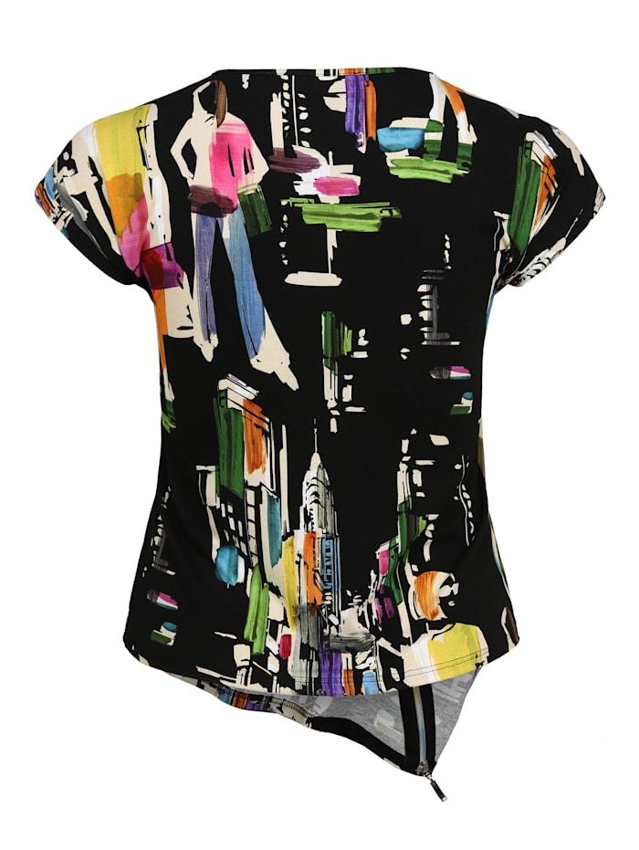 Shirt mit Allover-Muster Dekorative Reißverschlüsse