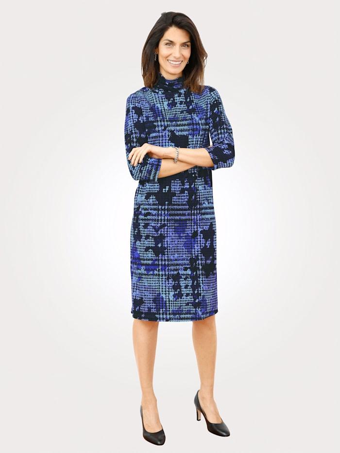 MONA Kleid mit Hahnetrittmuster, Lila/Schwarz