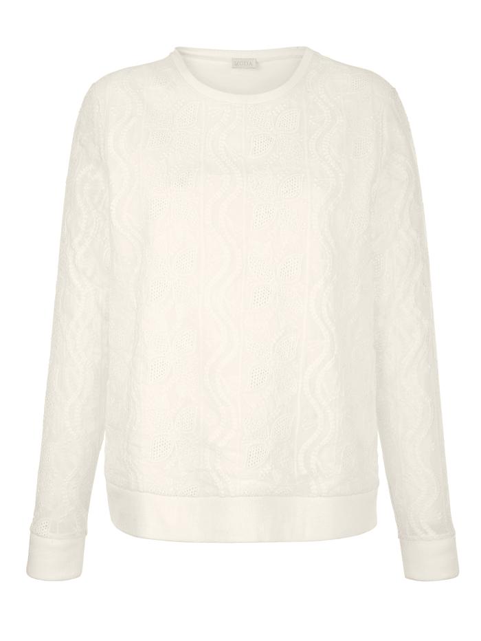 Sweat-shirt à dentelle florale