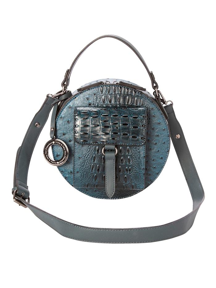 Emma & Kelly Handtasche mit Straußenprägung, petrol