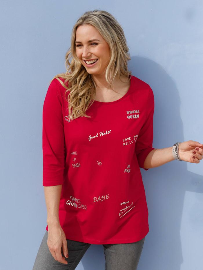 MIAMODA Shirt mit dekorativen Schriftzügen vorne, Rot