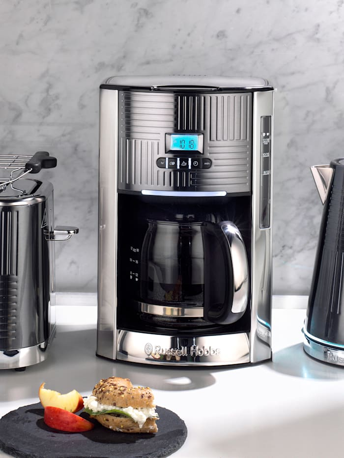 Russell Hobbs Digitale Glas-Kaffeemaschine 'Geo Steel', Silberfarben/Schwarz