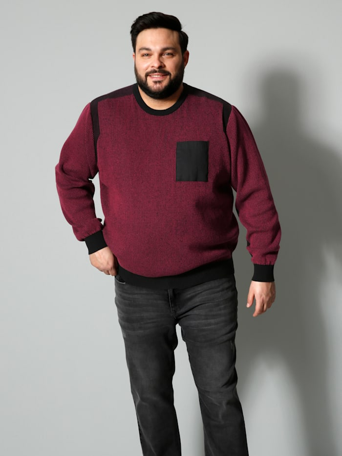 Men Plus Pullover Spezialschnitt, Rot/Schwarz