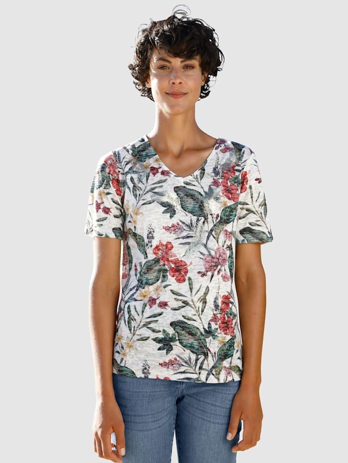 Dress In T-shirt en matière dévorée, Blanc cassé