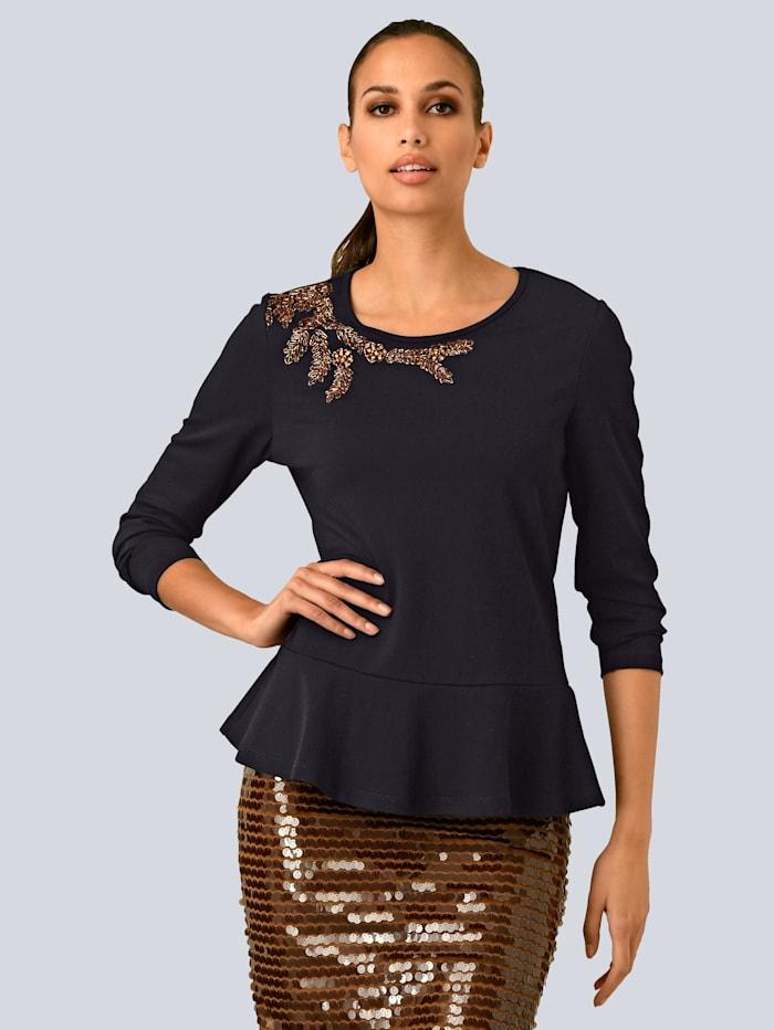 Alba Moda Shirt mit aufwendiger Steinchen-Applikation, Schwarz/Kupferfarben