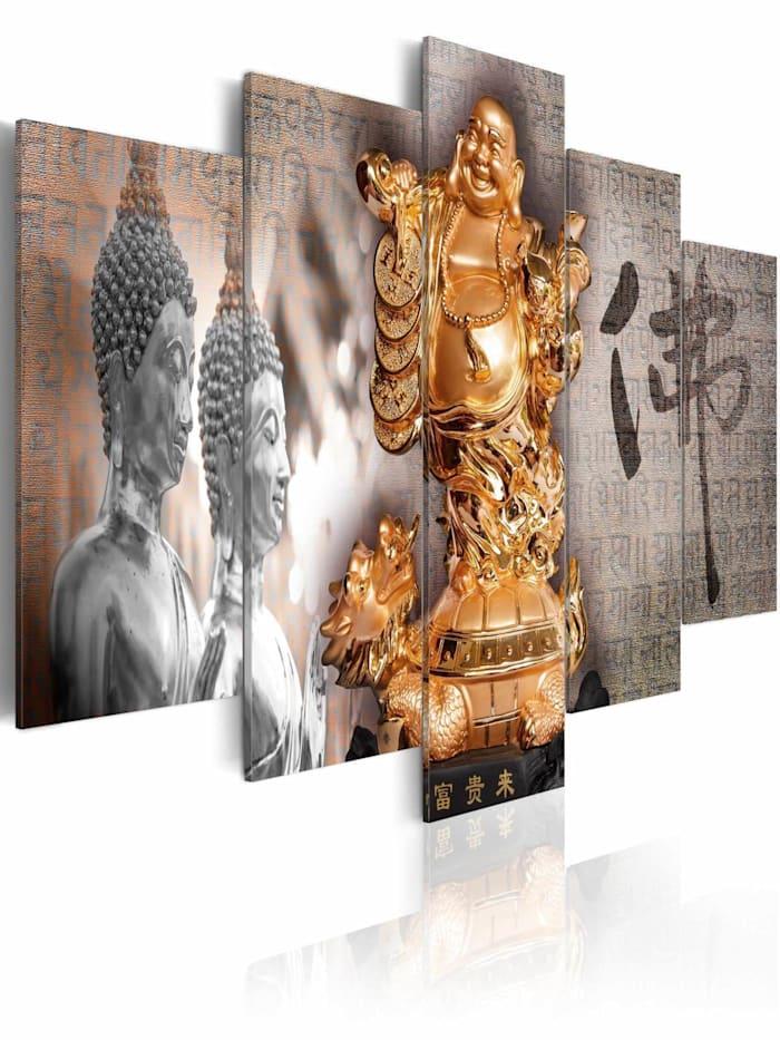 artgeist Wandbild Smile to Buddha!, Braun,Gold,Grau