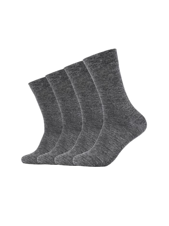 Camano Socken ca-soft 4er Pack Bund ohne Gummidruck, grey