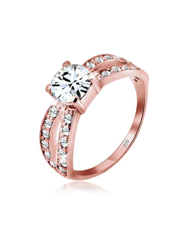 Elli Ring Solitär Glamourös Swarovski® Kristall 925 Silber, Rosegold