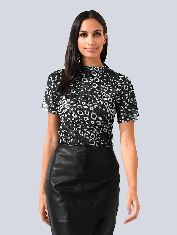 Alba Moda Shirt van zacht meshmateriaal, Zwart/Wit