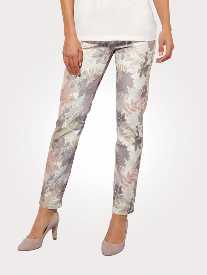 MONA Kalhoty s potiskem v pastelových barvách, Ecru/Bahenní/Lososová