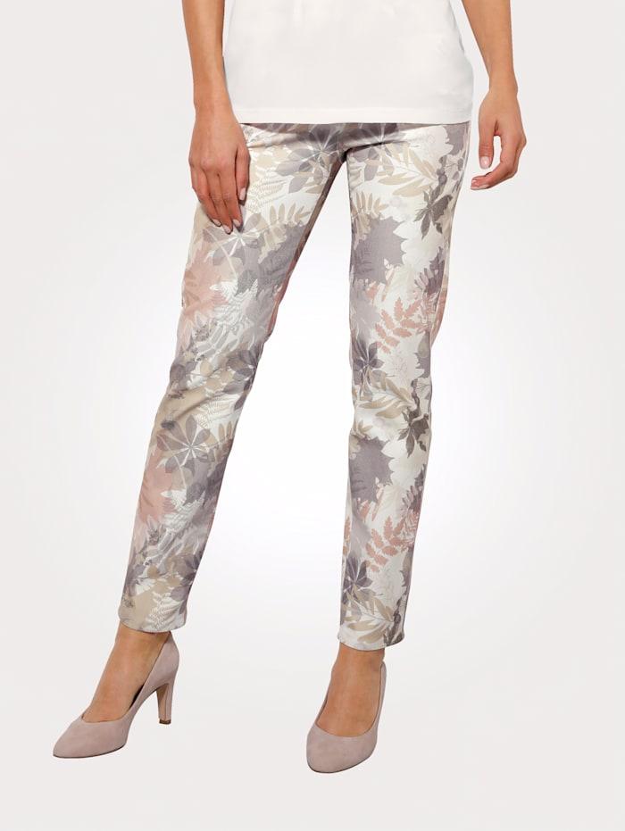 MONA Pantalon à imprimé de feuilles en tons pastel, Écru/Taupe/Saumon