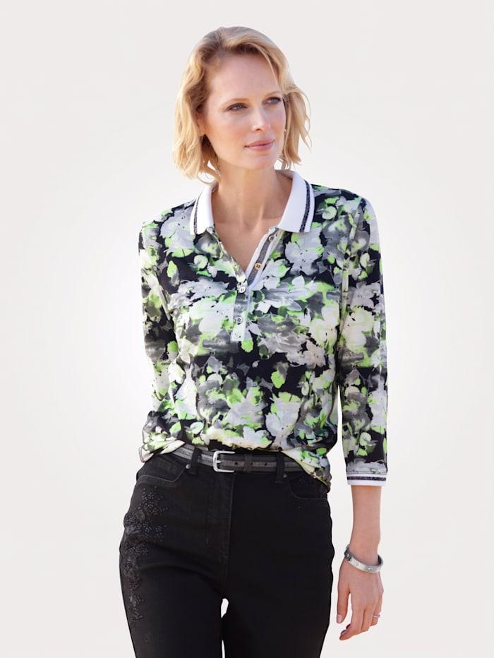 MONA Poloshirt mit effektvollem Floral-Druck, Giftgrün/Schwarz/Weiß