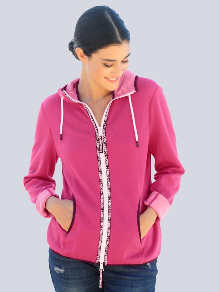 Alba Moda Sweatjacke mit aufwändiger Innenverarbeitung, Pink