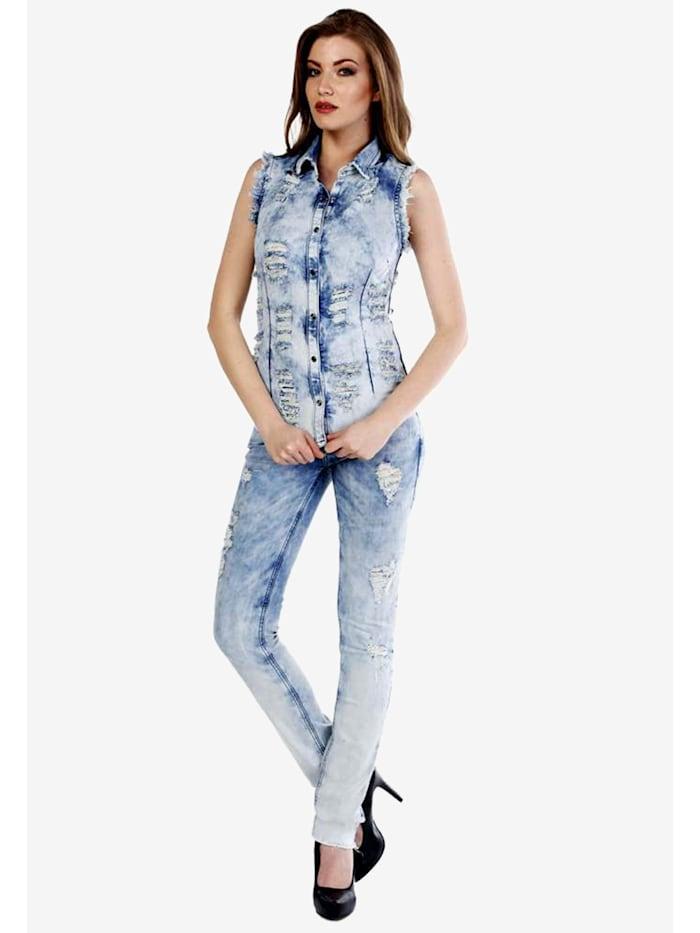 Slim Fit-Jeans mit coolen Used-Details in Skinny Fit