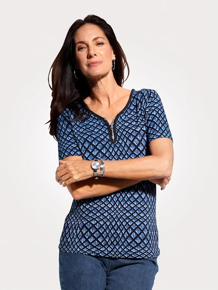 MONA Shirt mit grafischem Dessin, Blau/Marineblau