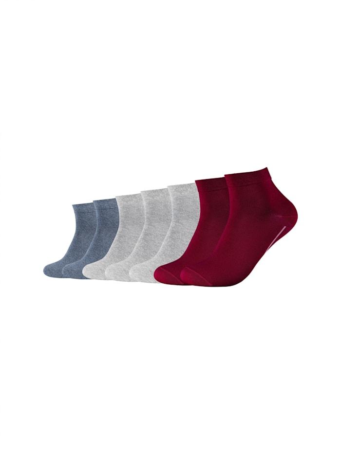 Camano Sneakersocke ca-soft im 7er-Pack ohne Gummidruck, bordeaux