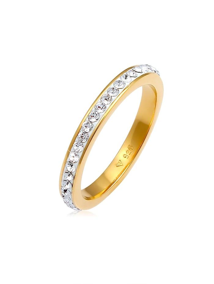 Elli Ring Bandring Kristall 925 Silber, Gold