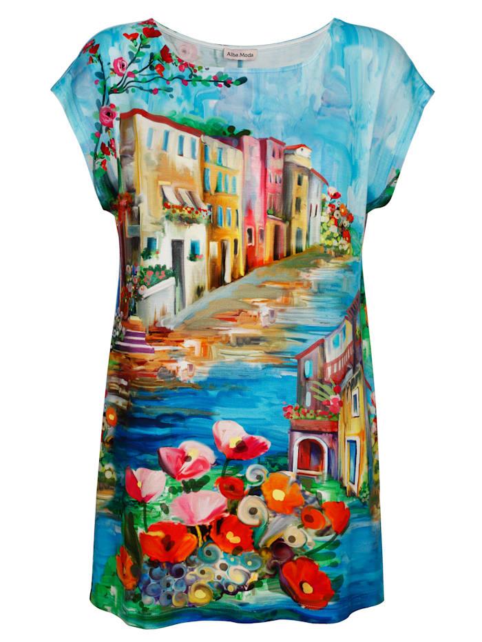 Alba Moda Strandshirt mit Aquarelldruck, Aqua-Bunt
