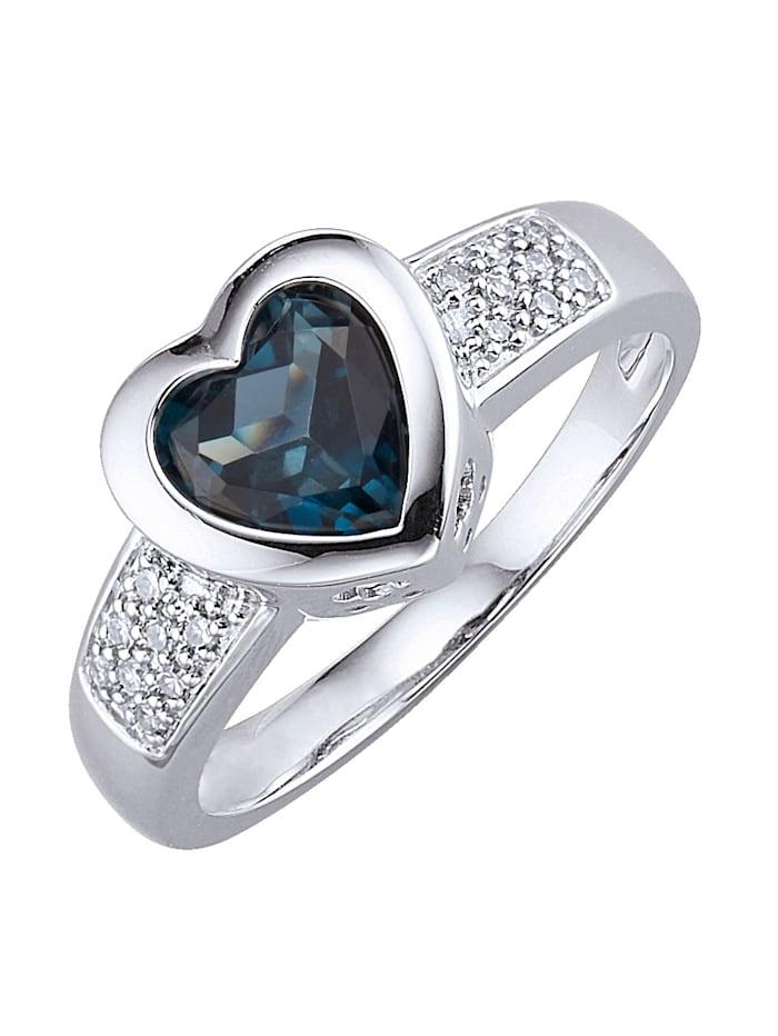 Amara Platin Herz-Ring mit Blautopas, Silbergrau