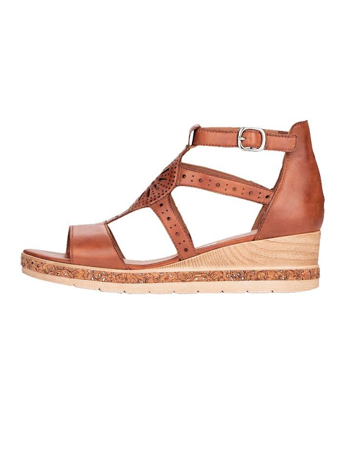 Sandales compensées à première en cuir rembourrée