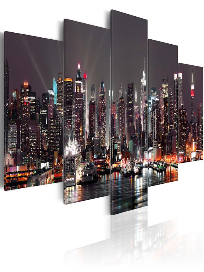 artgeist Wandbild Manhattan bei Nacht, Silber,Grau,Schwarz,Orange,Weiß