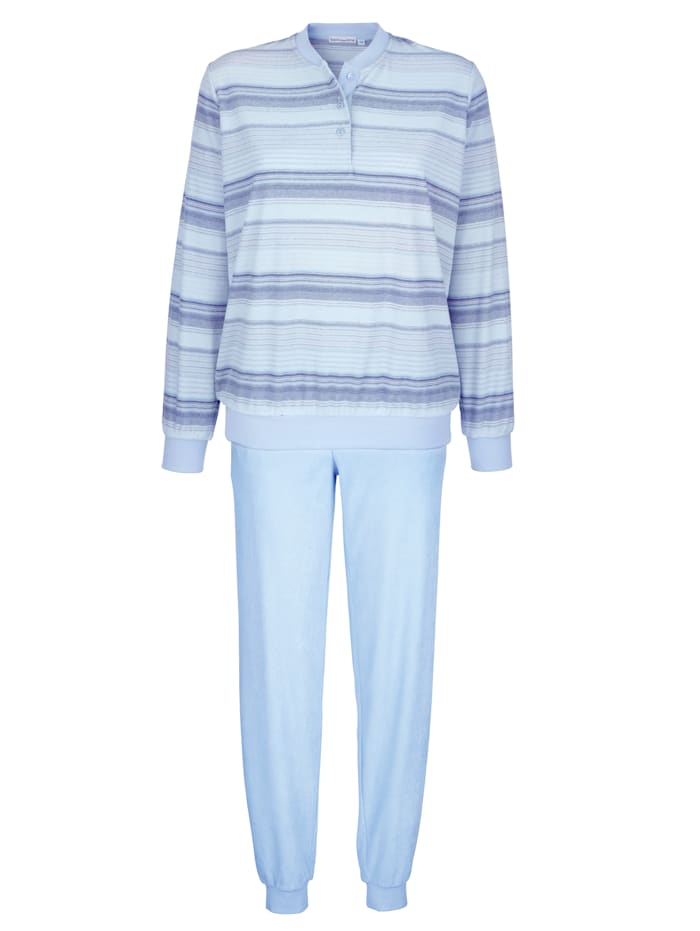 MONA Schlafanzug aus trageangenehmem Frottee-Stretch, bleu/jeansblau/ecru