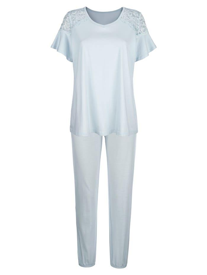Simone Pyjamas med söta volangärmar, Ljusblå