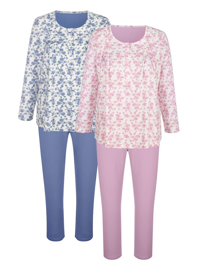 Harmony Pyjama's per 2 stuks met trendy plooitjes voor, Ecru/Rookblauw/Oudroze