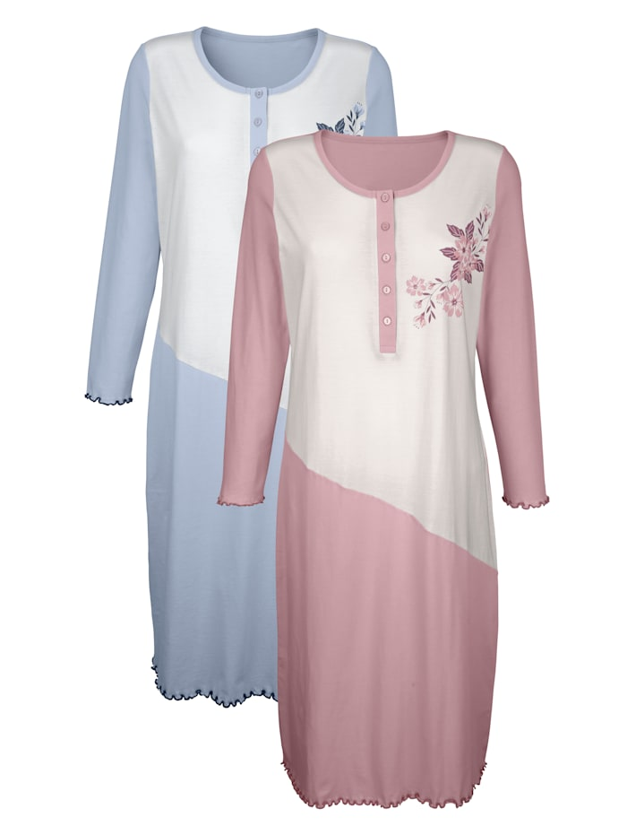 Harmony Nachthemden mit dekorativem Wellensaumabschluss 2er Pack, altrosé/bleu/weiß