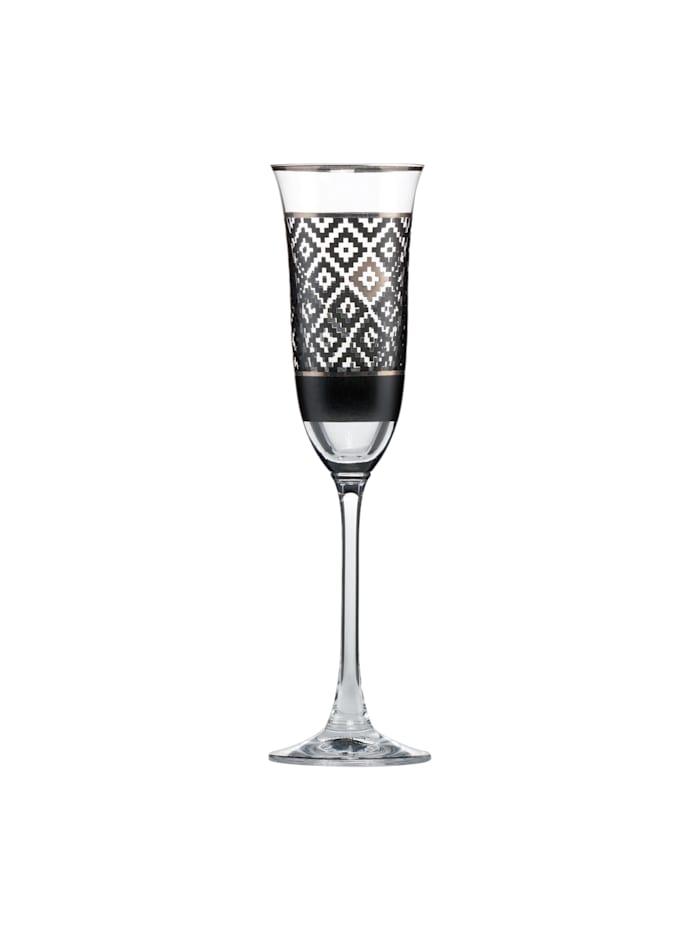 "Goebel Goebel Sektglas Maja von Hohenzollern - Design ""Diamonds"", schwarz-weiß"