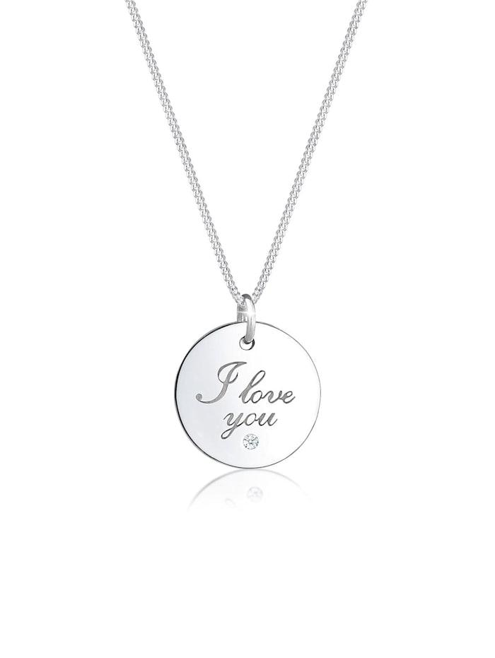Elli Premium Halskette I Love You Wording Diamant (0.02 Ct) 925 Silber, Silber