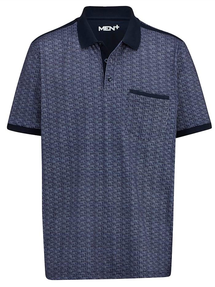Men Plus Poloshirt mit einer Brusttasche, Marineblau/Weiß