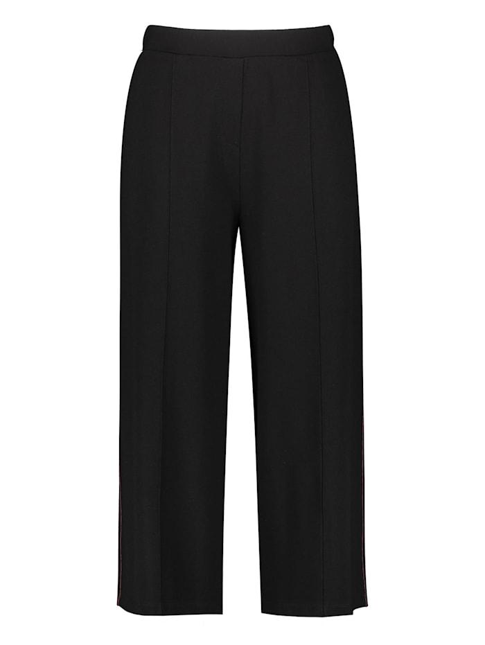 Samoon Culotte mit seitlichen Kontraststreifen, Black