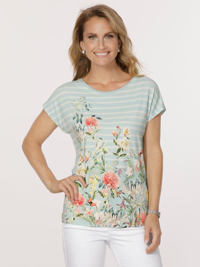 MONA Shirt mit floralem Dessin, Mintgrün/Multicolor