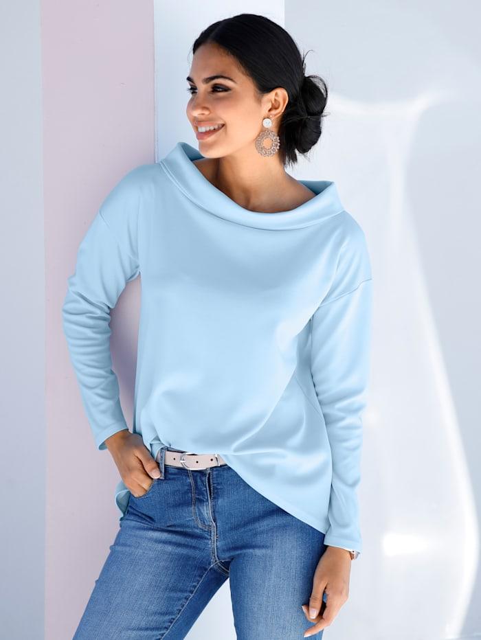 AMY VERMONT Shirt mit modischem Blendenkragen, Hellblau