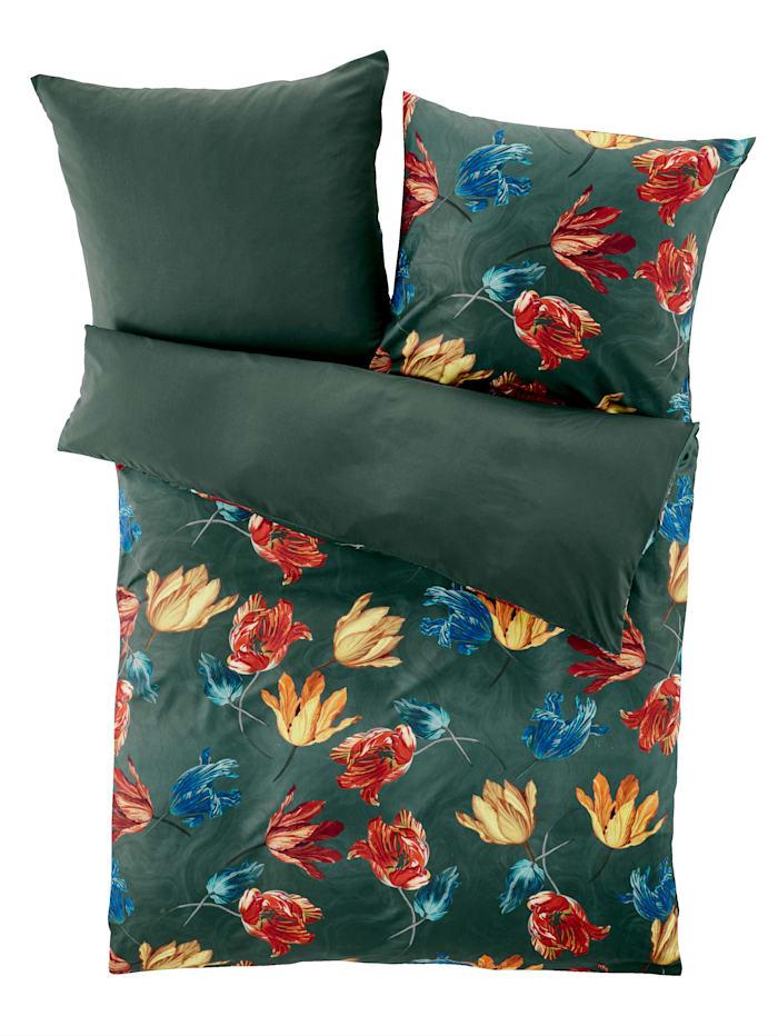 Webschatz Parure de lit en satin chatoyant 'Judith', Vert/autres coloris