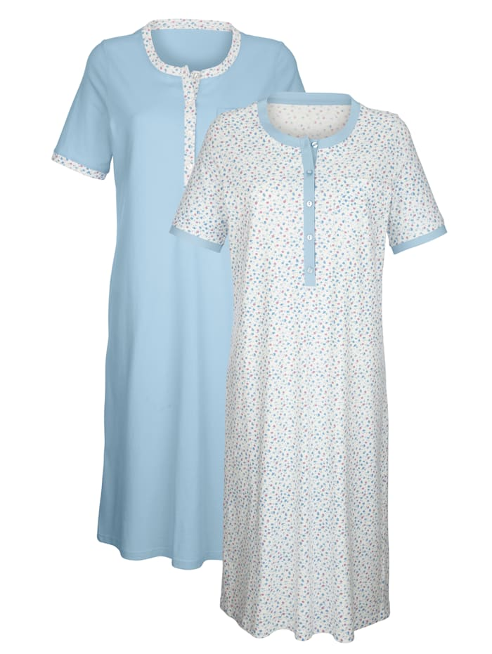 Harmony Nachthemden mit kontrastfarbenem Halsausschnitt, Hellblau/Ecru
