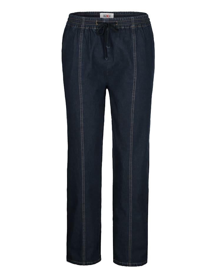 Roger Kent Pantalon à taille extensible avec cordon de serrage, Dark blue